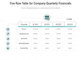 Five Row Table For Company Quarterly Financials