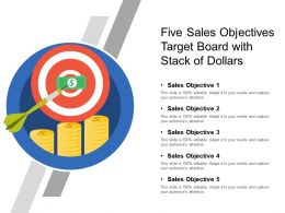 Five Sales Objectives Target Board With Stack Of Dollars