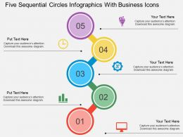 Five Sequential Circles Infographics With Business Icons Flat Powerpoint Design
