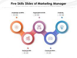 Five Skills Slides Of Marketing Manager