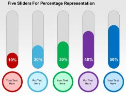 Five Sliders For Percentage Representation Flat Powerpoint Design