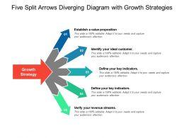 Five Split Arrows Diverging Diagram With Growth Strategies