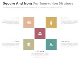Five Squares And Icons For Innovation Strategy Powerpoint Slides