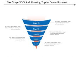 Five Stage 3d Spiral Showing Top To Down Business Process