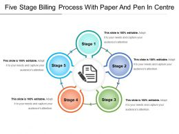 Five Stage Billing Process With Paper And Pen In Centre
