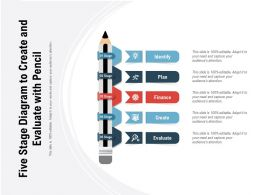 Five Stage Diagram To Create And Evaluate With Pencil