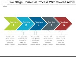 Five Stage Horizontal Process With Colored Arrow