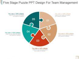 Five Stage Puzzle Ppt Design For Team Management