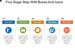 Five Stage Step With Boxes And Icons