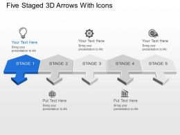 Five Staged 3d Arrows With Icons Powerpoint Template Slide