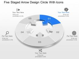 Five Staged Arrow Design Circle With Icons Powerpoint Template Slide