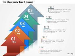 Five Staged Arrow Growth Diagram Powerpoint Template