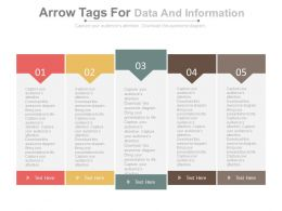 five_staged_arrow_tags_for_data_and_information_powerpoint_slides_Slide01