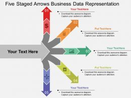 Five Staged Arrows Business Data Representation Flat Powerpoint Design