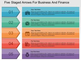 Five Staged Arrows For Business And Finance Flat Powerpoint Design