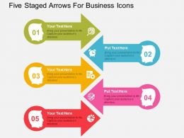 Five Staged Arrows For Business Icons Flat Powerpoint Design
