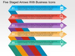 Five Staged Arrows With Business Icons Flat Powerpoint Design