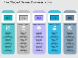Five Staged Banner Business Icons Flat Powerpoint Design