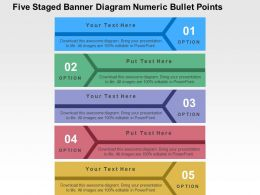 Five Staged Banner Diagram Numeric Bullet Points Flat Powerpoint Design