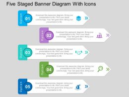 Five Staged Banner Diagram With Icons Flat Powerpoint Design