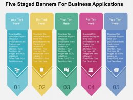 Five Staged Banners For Business Applications Flat Powerpoint Design