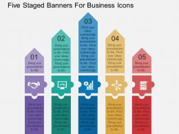 Five Staged Banners For Business Icons Flat Powerpoint Design