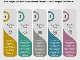 Five Staged Banners With Business Process Control Target Achievement Flat Powerpoint Design