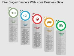 Five Staged Banners With Icons Business Data Flat Powerpoint Design