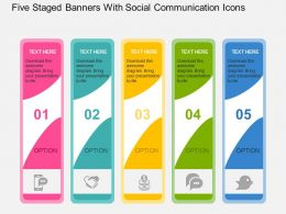 Five Staged Banners With Social Communication Icons Flat Powerpoint Design