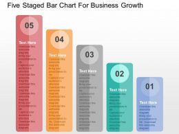 Five Staged Bar Chart For Business Growth Flat Powerpoint Design