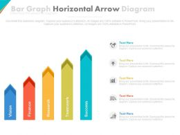 Five Staged Bar Graph Horizontal Arrow Diagram Powerpoint Slides