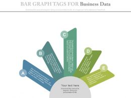 Five Staged Bar Graph Tags For Business Data Powerpoint Slides