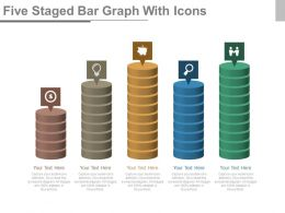 Five Staged Bar Graph With Icons Powerpoint Slides