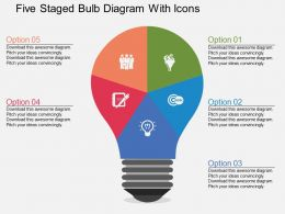 Five Staged Bulb Diagram With Icons Flat Powerpoint Desgin