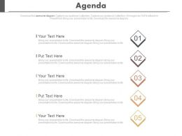 Five Staged Business Agenda Analysis Powerpoint Slides