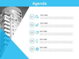 Five Staged Business Agenda And Icons Powerpoint Slides