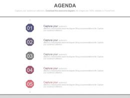 Five Staged Business Agenda Chart Powerpoint Slides