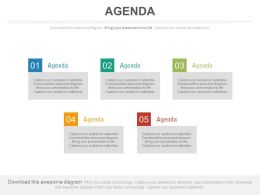 Five Staged Business Agenda Diagram Powerpoint Slides