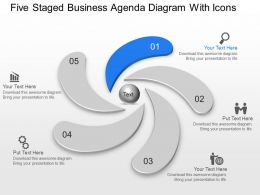 Five Staged Business Agenda Diagram With Icons Powerpoint Template Slide