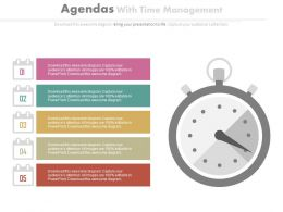 Five Staged Business Agenda For Time Management Powerpoint Slides