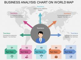 Five Staged Business Analytics Chart On World Map Ppt Presentation Slides