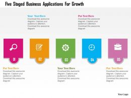 Five Staged Business Applications For Growth Flat Powerpoint Design