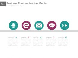 Five Staged Business Communication Media Powerpoint Slides