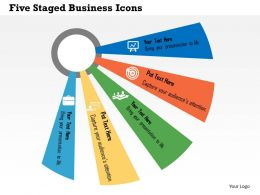 Five Staged Business Icons Flat Powerpoint Design