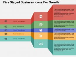 Five Staged Business Icons For Growth Flat Powerpoint Design