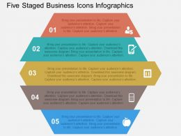 Five Staged Business Icons Infographics Flat Powerpoint Design
