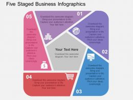 Five Staged Business Infographics Flat Powerpoint Design
