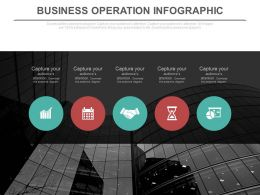 Five Staged Business Operation Infographics Flat Powerpoint Design