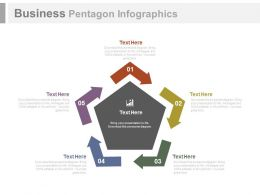 Five Staged Business Pentagon Infographics Flat Powerpoint Design