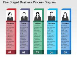 Five Staged Business Process Diagram Flat Powerpoint Design